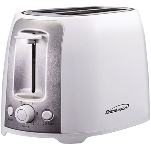 Brentwood 2-Slice Wide-Slot Toaster White/stainless steel TS-292W