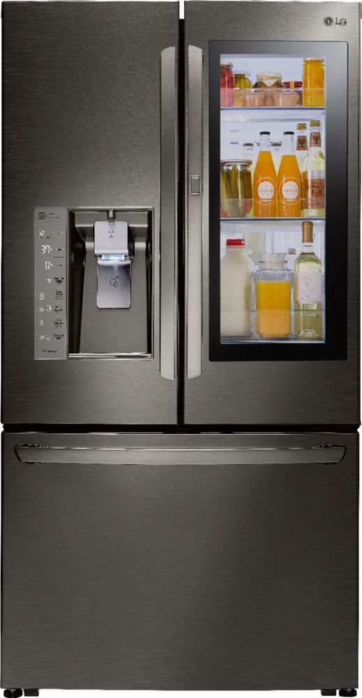 LG - InstaView Door-in-Door 23.5 Cu. Ft. French Door Counter-Depth Refrigerator - Black stainless steel largeFrontImage