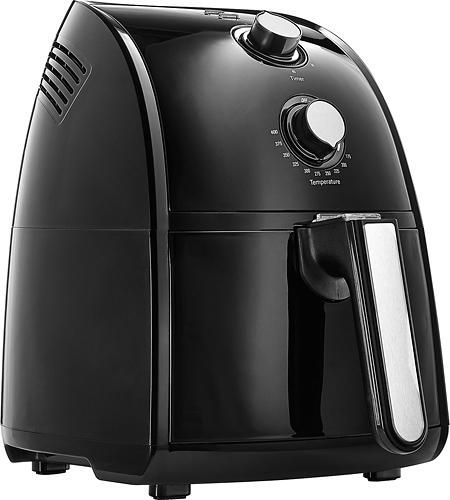 Bella - 2.6 qt. Analog Air Fryer - Black 60-minute timer; 2.6-quart capacity; 1500W of power; dishwasher-safe frying basket