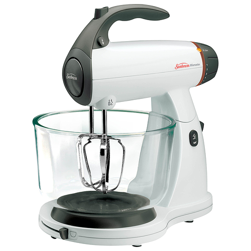 Sunbeam - Mixmaster Stand Mixer - White 12 speeds; 350W of power; includes dough hooks, chrome beaters and whisks
