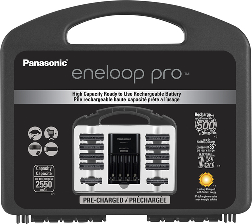 Panasonic - eneloop pro Charger, 8 AA and 2 AAA Batteries Kit - Black Compatible with AA and AAA batteries; charges in 9 hours; holds up to 4 batteries; LED display with indicator lights; overload protection; auto shutoff; includes 8 AA and 2 AAA batteries
