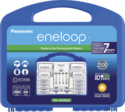 Panasonic - eneloop Charger, 8 AA and 2 AAA Batteries, 2 C and 2 D Spacers Kit - White Compatible with AA and AAA batteries; charges up to 4 batteries in 7 hours; auto shutoff; overload protection; 4 LED indicator lights; 2 C and 2 D battery spacers