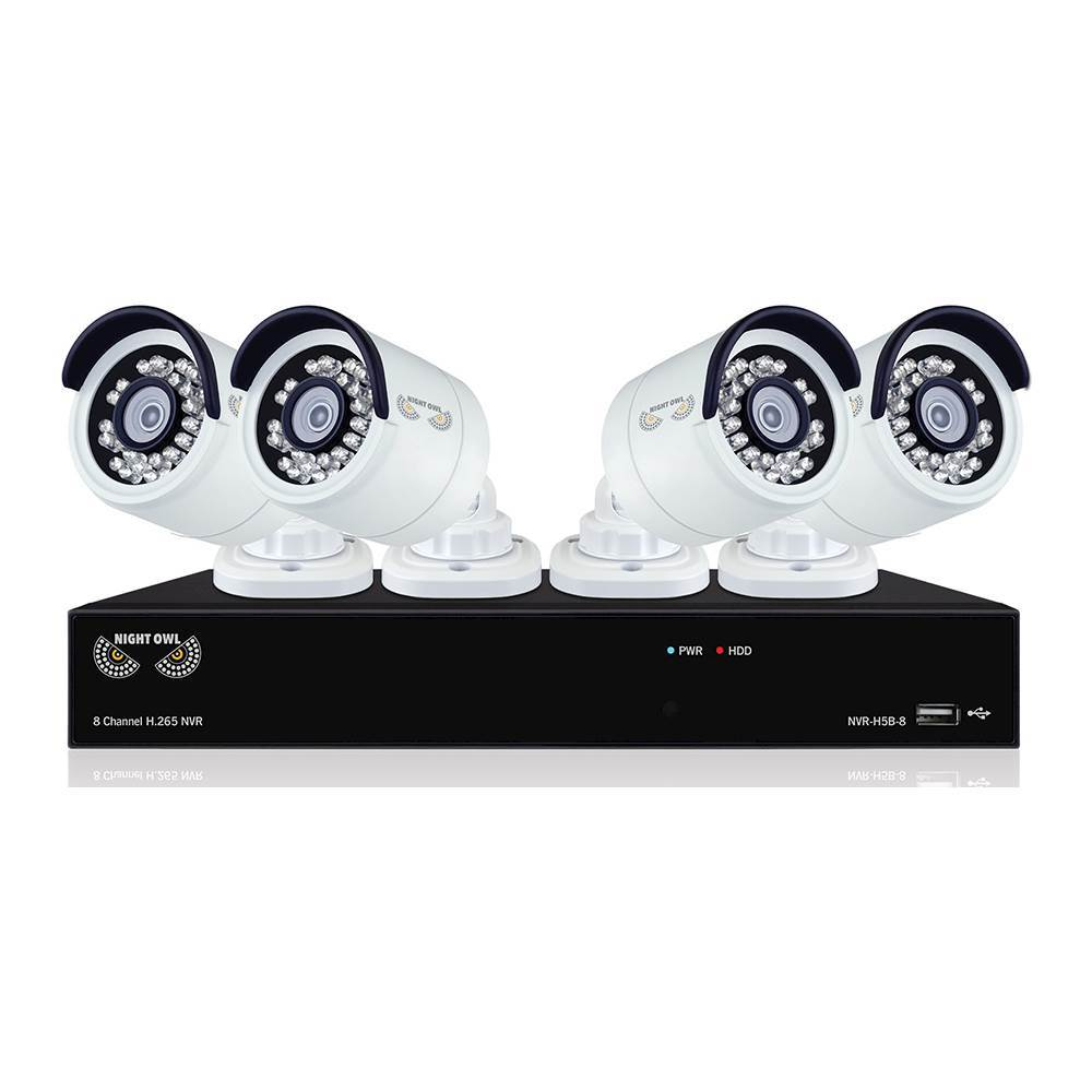 Night Owl 8-Channel, 4-Camera Indoor/Outdoor High-Definition NVR Surveillance System B-4MH5-842