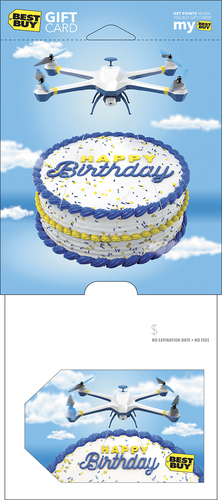 Best Buy GC - $75 Happy Birthday Drone Gift Card Perfect gift card? Piece of cake. All Best Buy gift cards are shipped free and are good toward future purchases online and in U.S. or Puerto Rico Best Buy stores. Best Buy gift cards do not have an expiration date.