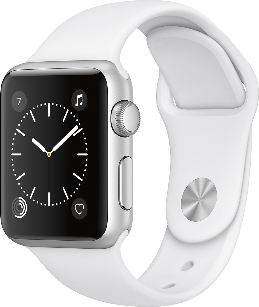 Apple - Apple Watch Series 1 38mm Silver Aluminum Case White Sport Band - Silver Aluminum