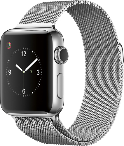 Apple - Apple Watch Series 2 38mm Stainless Steel Case Milanese Loop Band - Stainless Steel
