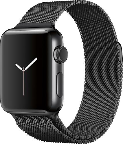Apple - Apple Watch Series 2 38mm Space Black Stainless Steel Case Space Black Milanese Loop Band - Space Black Stainless Steel