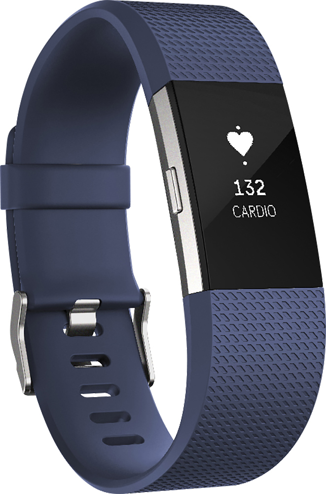 Fitbit - Charge 2 Activity Tracker + Heart Rate (Small) - Blue Silver