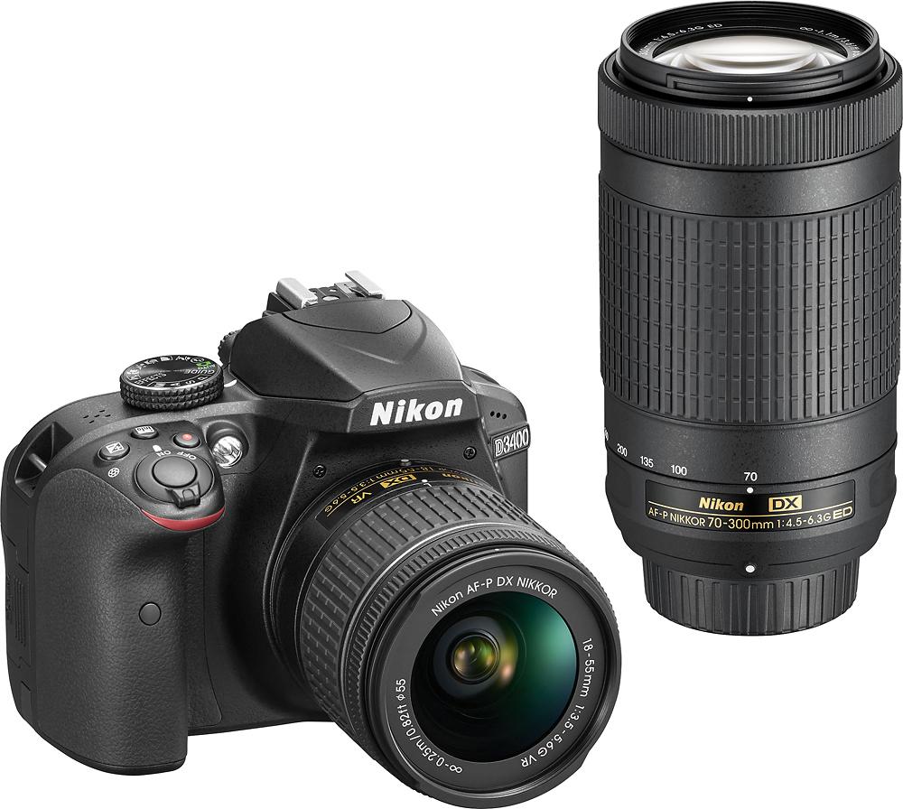 Nikon - D3400 DSLR Camera with AF-P DX 18-55mm G VR and 70-300mm G ED Lenses - Black