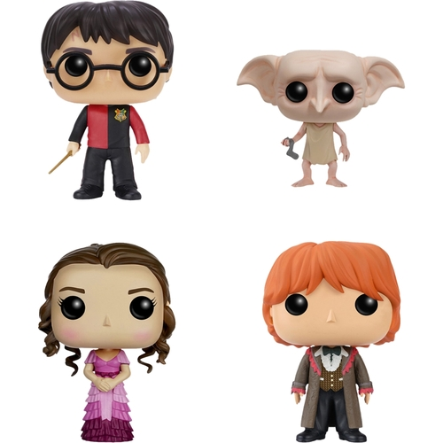 Funko - Harry Potter POP! Movie Vinyl Collectors Set: Harry Triwizard, Dobby, Hermione Yule Ball and Ron Yule Ball 5580262
