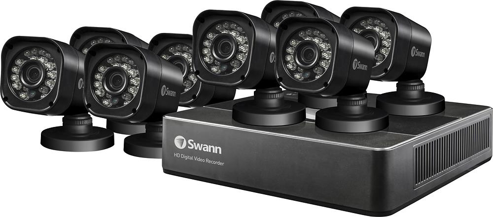Swann - PRO SERIES HD 8-Channel, 8-Camera Outdoor Wired 500GB DVR Surveillance System - Black