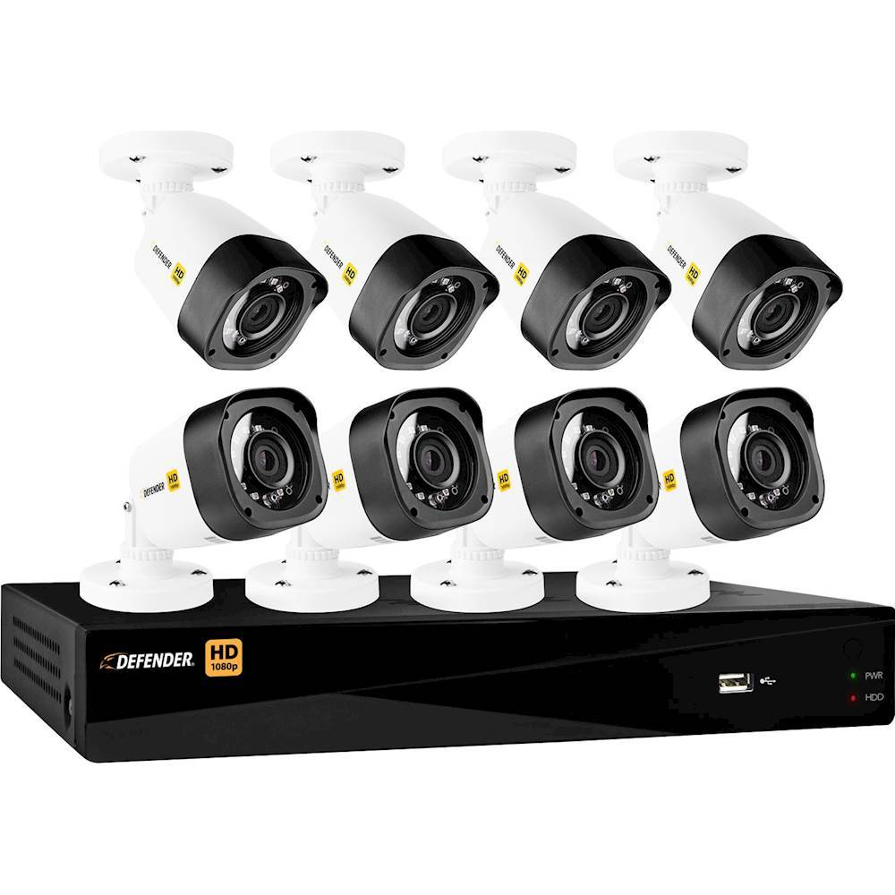 Defender 16-Channel, 8-Camera Wired 2TB DVR Surveillance System Black/White HD2T16B8