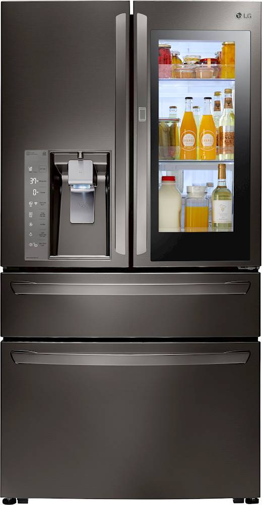 LG - InstaView Door-in-Door 22.5 Cu. Ft. French Door Counter-Depth Refrigerator - Black stainless steel largeFrontImage