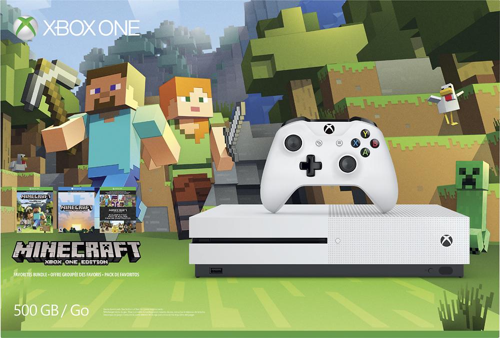 Microsoft - Xbox One S 500GB Minecraft Favorites Console Bundle with 4K Ultra HD Blu-ray™ - White