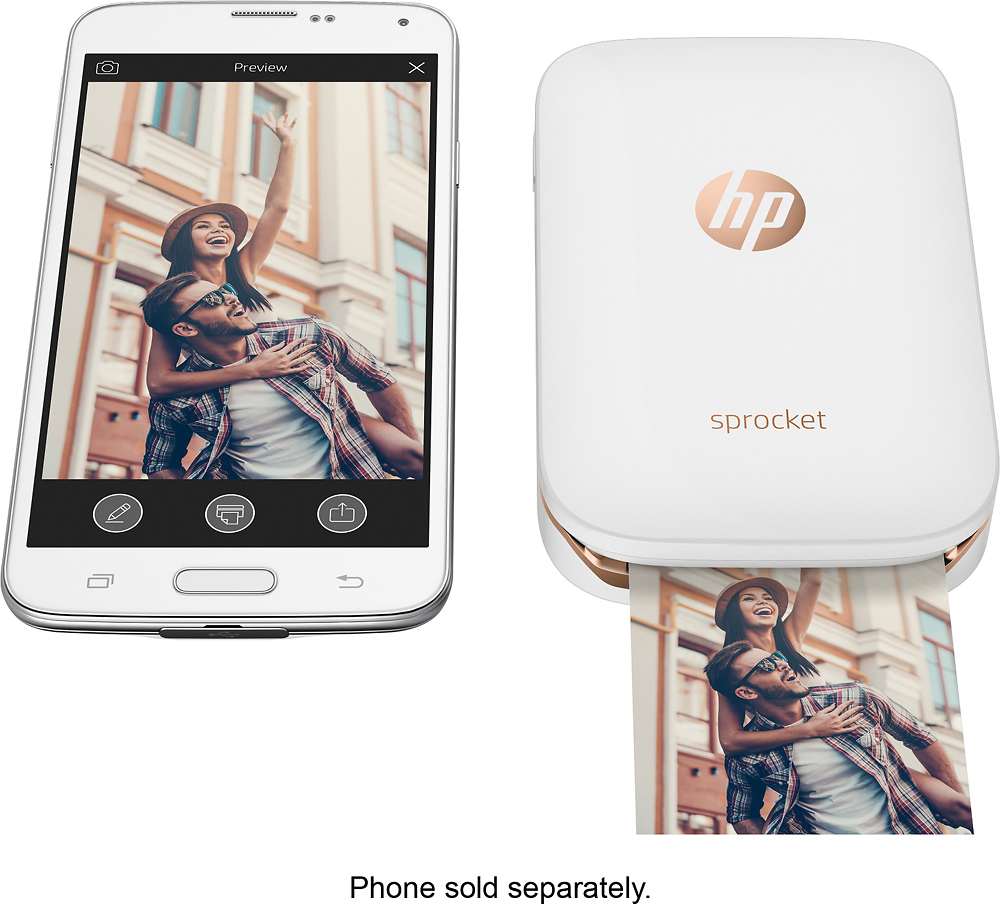 HP X7N07A Sprocket Photo Printer White
