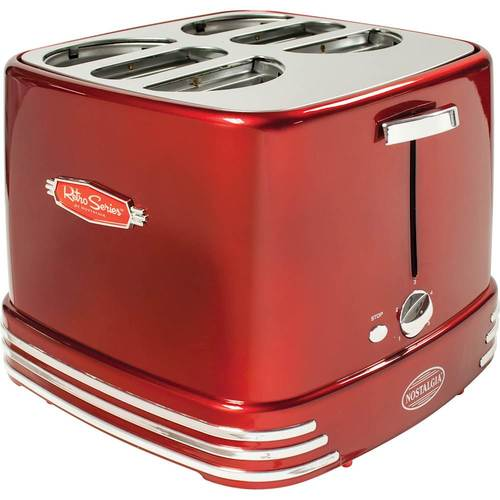Nostalgia - Retro Series 4-Slot Hot Dog Toaster - Retro Red 5623429