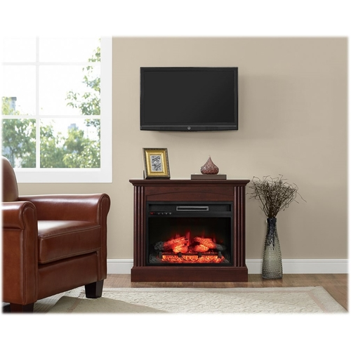 Whalen Furniture - Electric Fireplace - Rich brown cherry