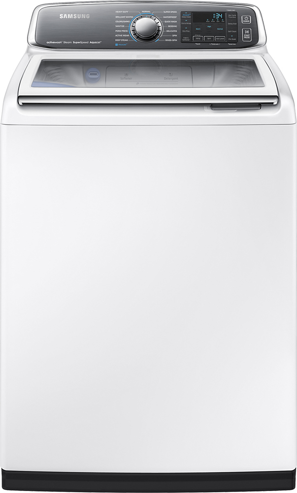 Samsung activewash 5.2 Cu. Ft. 15-Cycle Steam Top-Loading Washer White WA52J8700AW/AA
