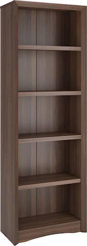 71u0022 Quadra Tall Bookcase Faux Woodgrain Finish Walnut - Corliving
