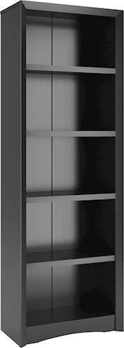 "71"" Quadra Tall Bookcase Faux Woodgrain Finish Black - Corliving"