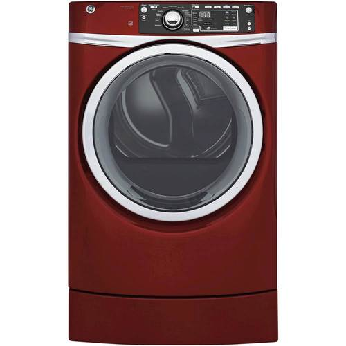 GE - RightHeight 8.3 Cu. Ft. 13-Cycle Gas Dryer with Steam - Ruby Red 5663803