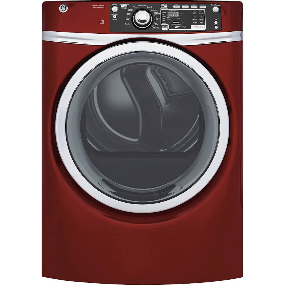 GE GFD48GSPKRR 8.3 Cu. Ft. 13-Cycle Gas Dryer with Steam Ruby red
