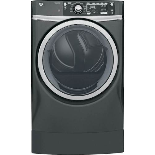 GE - RightHeight 8.3 Cu. Ft. 13-Cycle Gas Dryer with Steam - Diamond Gray