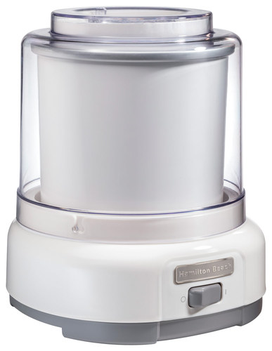 Hamilton Beach - 1-1/2-Quart Ice Cream Maker - White HAMILTON BEACH 1-1/2-Quart Ice Cream Maker: Easy on/off switch; freezer bowl; 1-1/2-quart capacity; recipe book