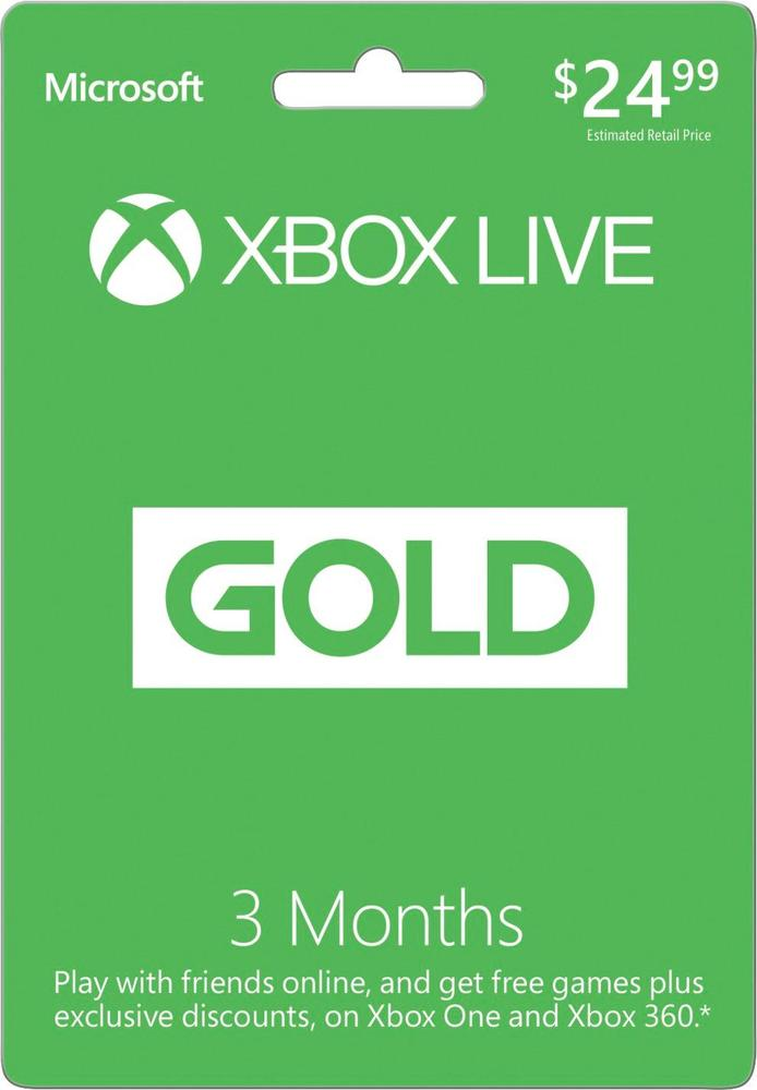 Microsoft Xbox Live 3 Month Gold Membership XBOX 3 MONTH CLAIMS 2016 $24.9
