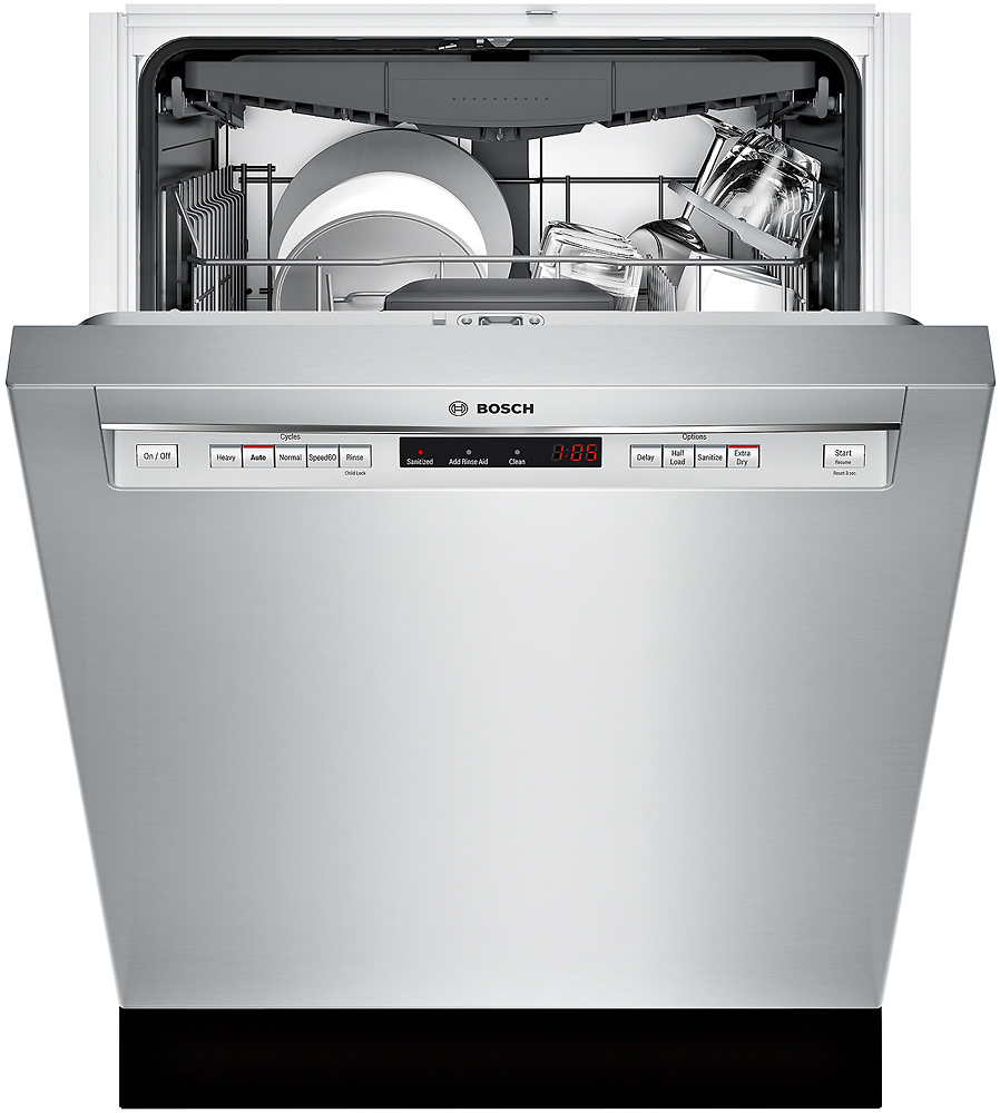 "Bosch SHEM63W55N 300 Series 24"" Recessed Handle Dishwasher with Stainless Steel Tub"