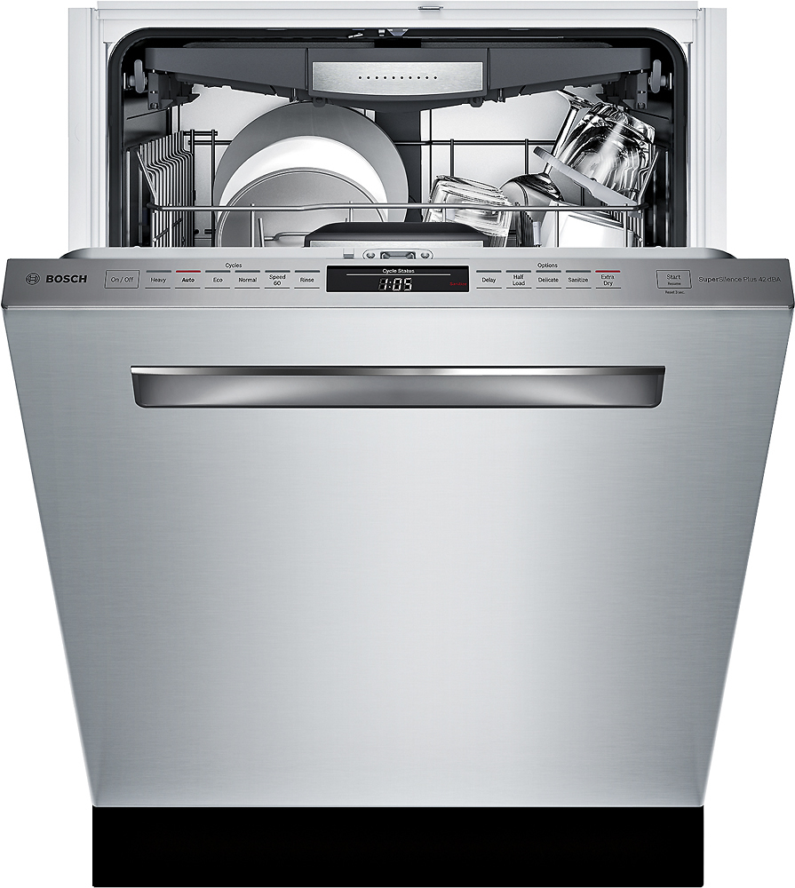 "Bosch SHPM78W55N 800 Series 24"" Pocket Handle Dishwasher with Stainless Steel Tub"
