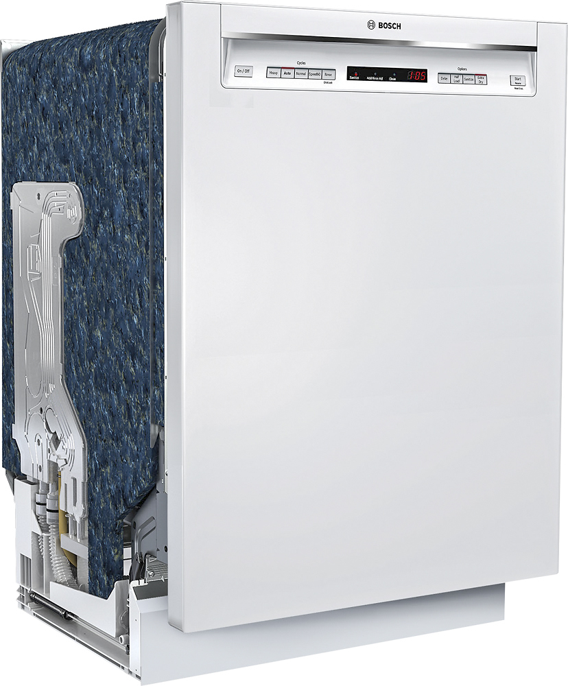 """Bosch SHEM63W52N 300 Series 24"""" Recessed Handle Dishwasher with Stainless Steel Tub White"""