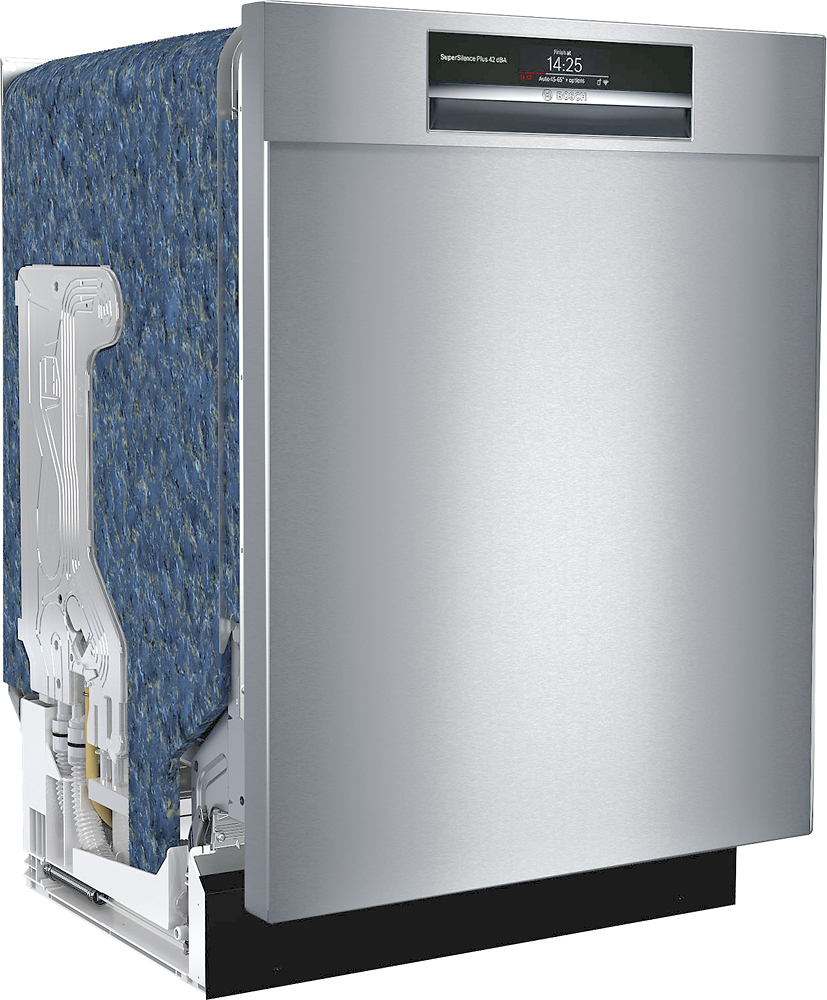 "Bosch SHEM78WH5N 800 Series 24"" Recessed Handle Connected Dishwasher with Stainless Steel Tub"