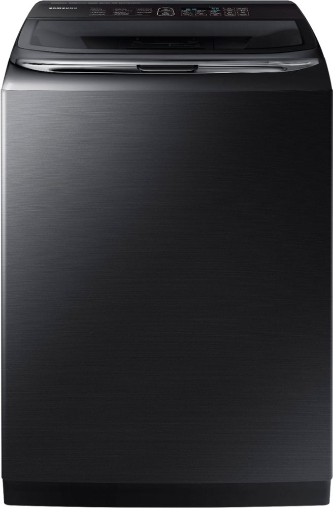 Samsung Activewash 5.4 Cu. Ft. 12-Cycle High-Efficiency Top-Loading Washer with Steam Black Stainless Steel WA54M8750AV
