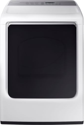 Samsung - 7.4 cu. ft. Capacity DOE Electric Dryer - White Integrated controls & LED display; 4 temperature settings