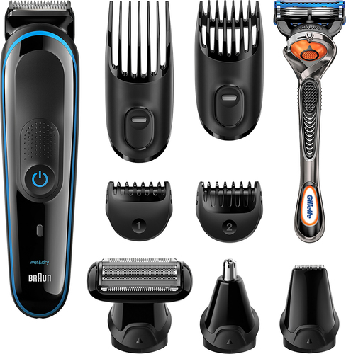 Braun - Wet/Dry Trimmer with 4 Guide Combs - Black/blue 5712308