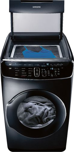 Samsung - 7.5 cu. ft. capacity 13-Cycle FlexDry Gas Dryer with MultiSteam - Fingerprint Resistant Black Stainless Steel Two dryers in one give you the flexibility to dry delicates and everyday garments at the same time