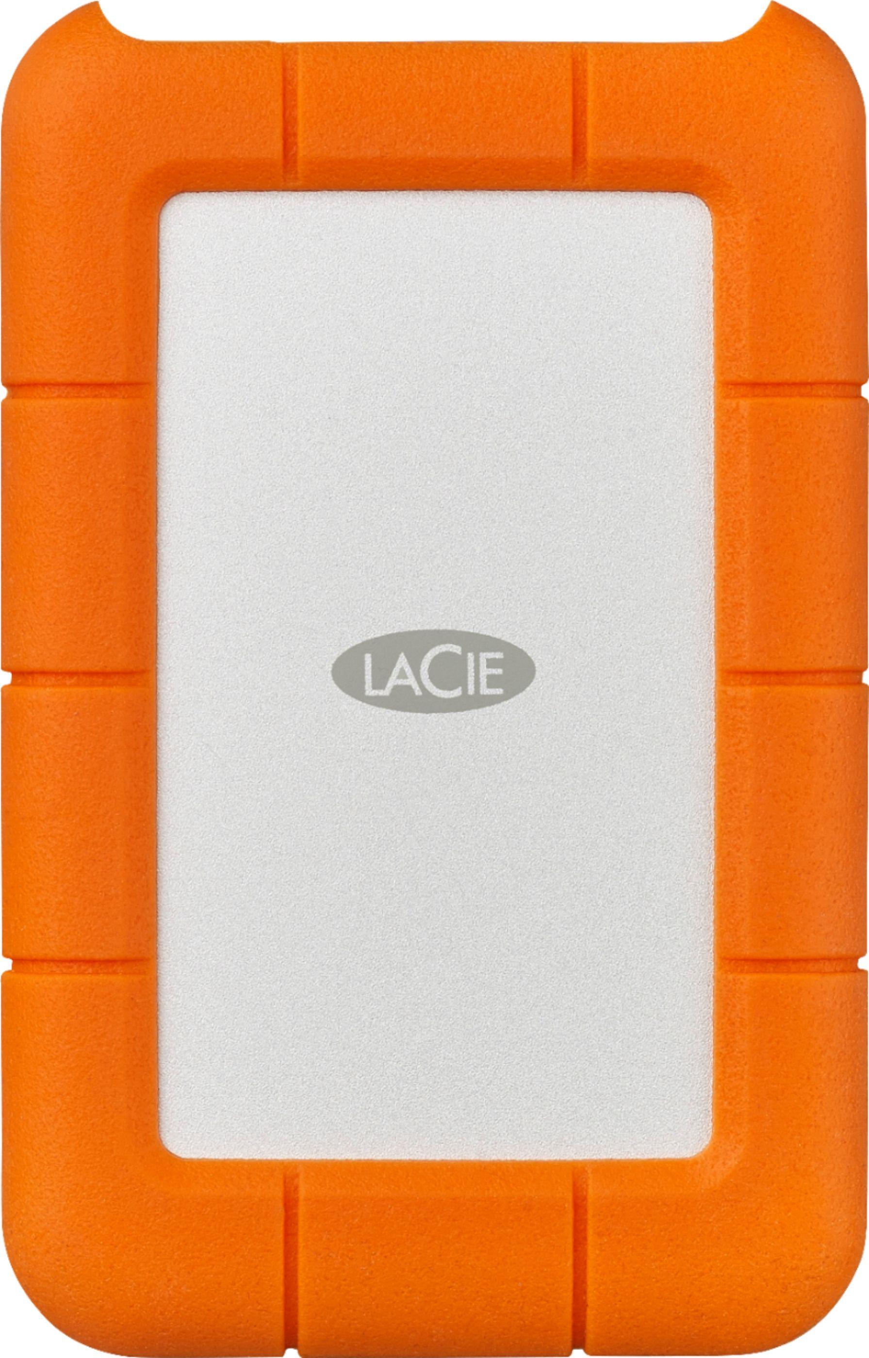 LaCie Rugged USB-C 2TB External USB 3.1 Gen1 Portable Hard Drive Orange STFR2000400