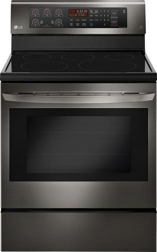 LG - 6.3 Cu. Ft. Freestanding Electric Convection Range - Black stainless steel