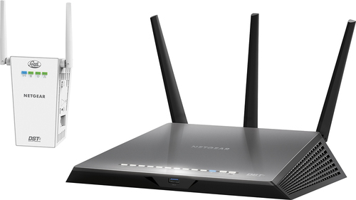NETGEAR - Geek Squad Certified Refurbished Nighthawk DST AC1900 Dual-Band Wi-Fi Router with DST Adapter - Black RefurbishedDual-Band AC technology with transfer rates up to 1900MbpsEasy setup with Netgear Genie appBeamforming technologyQoS technology