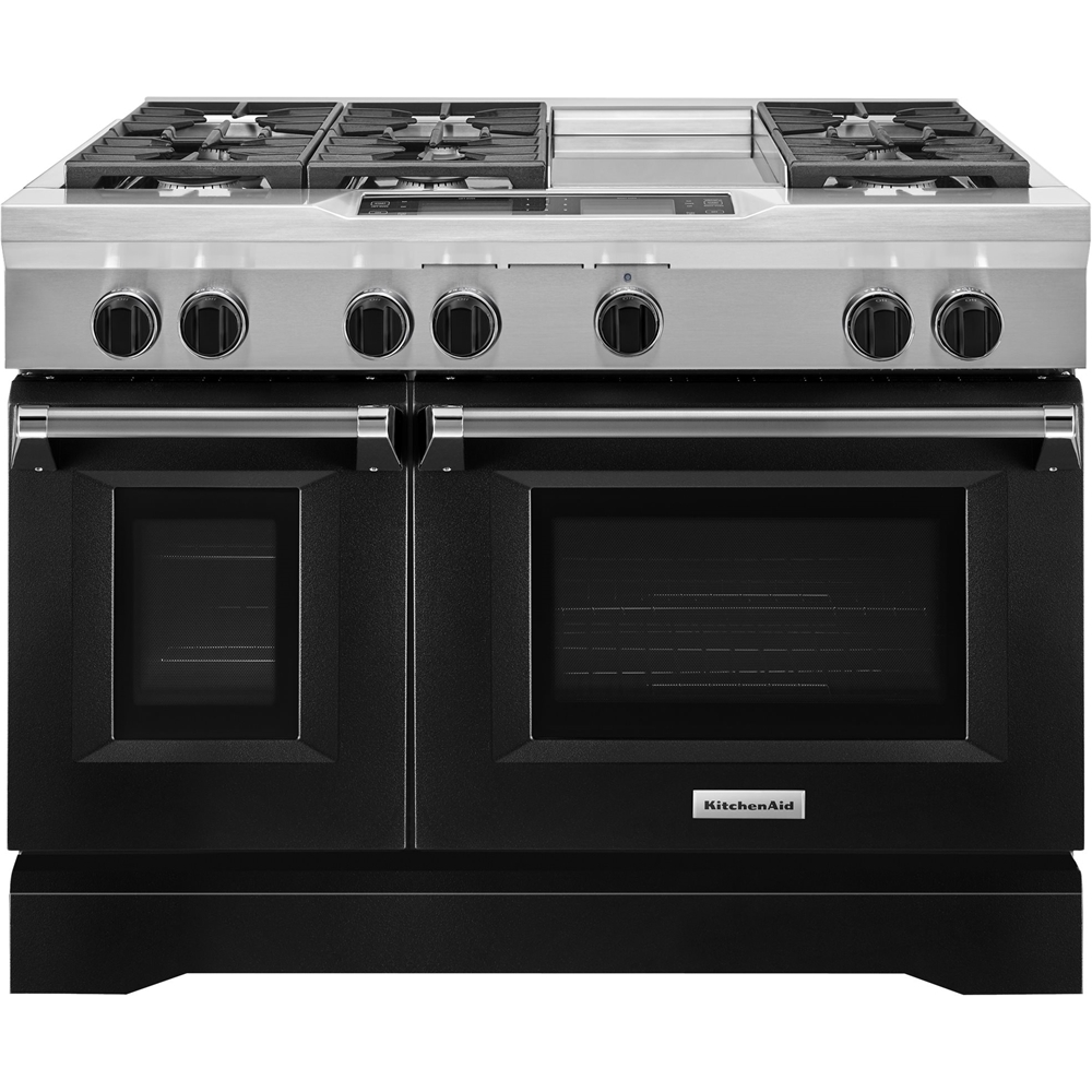 KitchenAid 6.3 Cu. Ft. Self-Cleaning Freestanding Double Oven Dual Fuel Convection Range Imperial black KDRS483VBK
