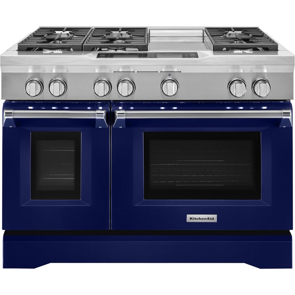 KitchenAid 6.3 Cu. Ft. Self-Cleaning Freestanding Double Oven Dual Fuel Convection Range Cobalt blue KDRS483VBU