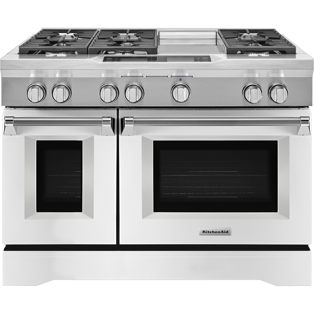 KitchenAid 6.3 Cu. Ft. Self-Cleaning Freestanding Double Oven Dual Fuel Convection Range Imperial white KDRS483VMW