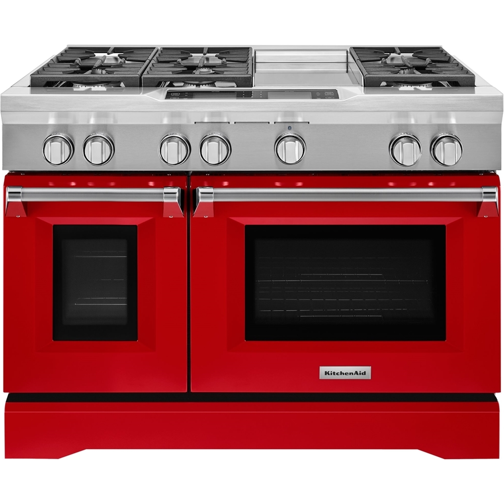 KitchenAid 6.3 Cu. Ft. Self-Cleaning Freestanding Double Oven Dual Fuel Convection Range Signature red KDRS483VSD