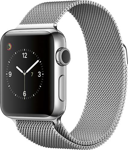 Apple - Geek Squad Certified Refurbished Apple Watch Series 2 38mm Stainless Steel Case Milanese Loop Band - Stainless Steel