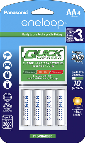 Panasonic - eneloop Quick Individual Battery Charger and 4 AA Batteries Kit - White Compatible with eneloop and eneloop pro rechargeable NiMH AA and AAA batteries; charges up to 4 AA batteries in 3 hours; auto shut-off; 4 fuel gauge LED indicator lights; peak sensing technology