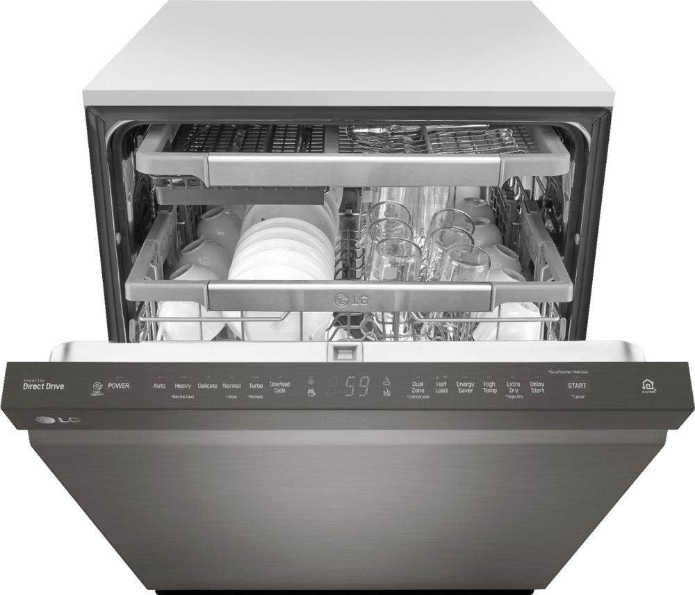 "LG LDP6797BD 24"" Top Control Built-In Dishwasher with QuadWash and Stainless Steel Tub Black stainless steel"