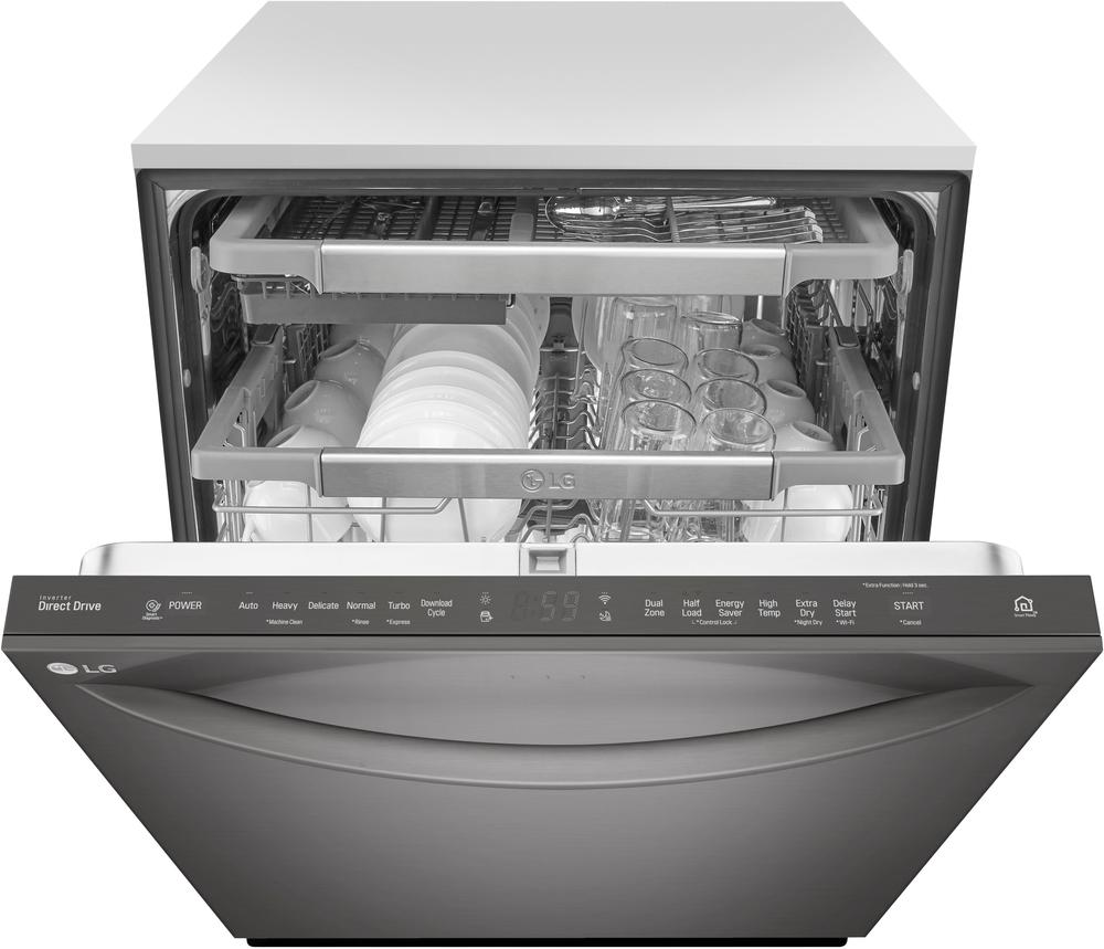 "LG LDT7797BD 24"" Top Control Built-In Dishwasher with QuadWash and Stainless Steel Tub Black stainless steel"
