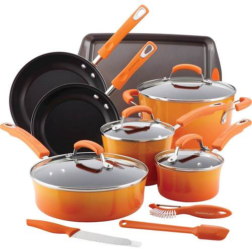 Rachael Ray 14 Piece Set Hard Enamel Cookware and Accessories, 1 set