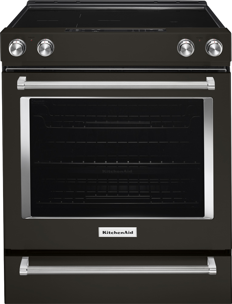 KitchenAid 6.4 Cu. Ft. Self-Cleaning Slide-In Electric Convection Range Black stainless KSEG700EBS
